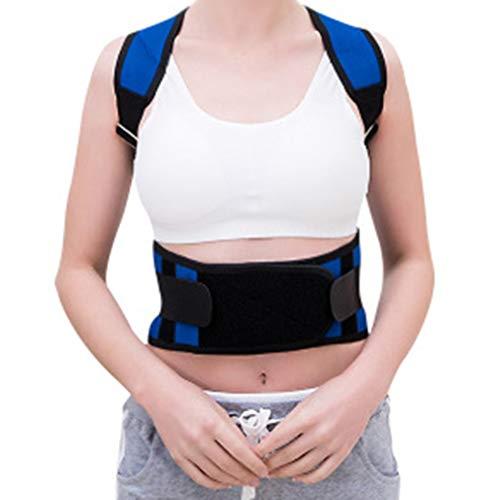 Glumlly Wirbelsäule Und Rückenstütze, Bereitstellung Von Schmerzlinderung Für Nacken, Schulter-Kissen Magnet Gürtel Verbessert Die Haltung Der Wirbelsäule Straightener- Blau,S -
