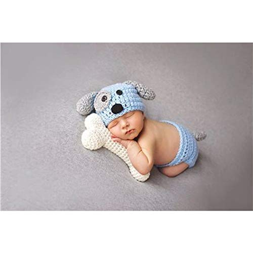 Mode recién nacido niño niña bebé Disfraz gestrickte fotografía Requisiten Cachorro sombrero Pantalones Blue+Bone