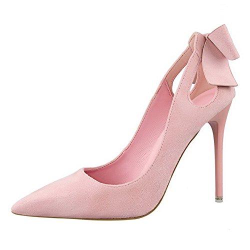 AalarDom Damen Blend-Materialien Stiletto Spitz Zehe Ziehen Auf Pumps Schuhe mit Schleife Pink-Schleife