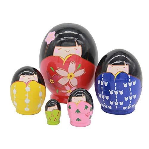 Japanische Puppen Kimono Mädchen Hand Bemalt Lustige Ei aus Holz Nesting Puppe Kokeshi Puppe Ostern Ornament Japanische Kawaii Geschenk (Satz von 5 Stück)