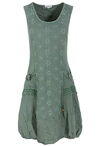 Damen Leinen (PEKIVESSA Leinenkleid Damen mit Stickerei Sommer Knielang Olivgrün 44 (Herstellergröße XXL))