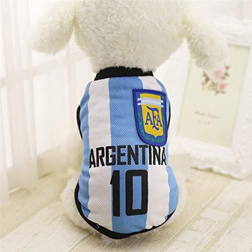 DOGCATMM Sport-Haustier-Kleidung Für Kleine Große Hunde Pitbull Mops-Hemd Chihuahua-Fußball-Jersey-Hemden Sommer-Hundewesten-T-Shirt - Niedliche Fußball Kostüm