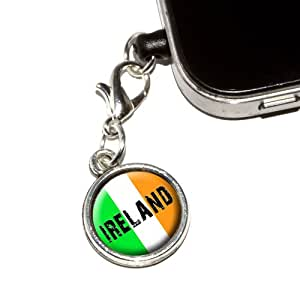 Graphics and More Ireland Irish Flag Anti-Dust Plug Universal Fit 3.5mm Earphone Headset Jack Charm for Mobile Phones - 1 Pack - Non-Retail Packaging - Antiqued Silver