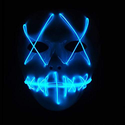 (Starall Mode Halloween Cosplay Geist Maske Schlitz Mund Leuchten Leuchtende EL Draht Nette Masken Für Kostüm Party (Blau))
