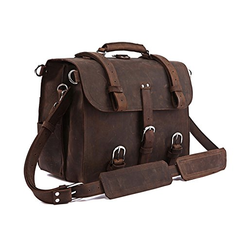 Yimidear® Crazy Horse spalla del cuoio genuino Valigetta (Black) Brown