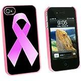De cáncer de mama lazo rosa on Black - Carcasa rígida para Carcasa protectora para Apple iPhone 4 4S - rosa