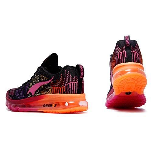 Onemix Donna Scarpe Da Sportive Running Basket Sneakers Estive Nero / Rosso