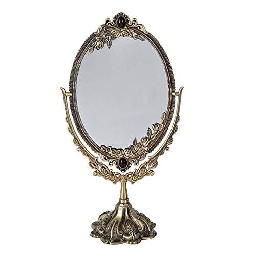 Schminkspiegel, beidseitig Retro europäischen Stil Metall Desktop Kosmetikspiegel HD Beauty Desktop Princess Mirror (Color : B)