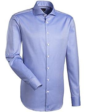 JACQUES BRITT Herren Hemd Custom Fit Brown Label 1/1-Arm Bügelleicht Streifen City-Hemd