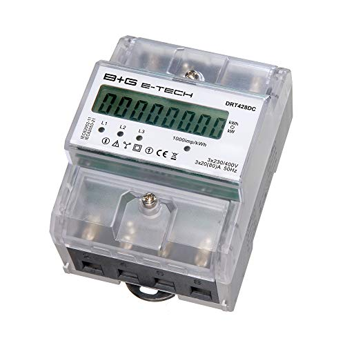 B+G E-Tech DRT428DC - digitaler Stromzähler Drehstromzähler Wattmeter für DIN Hutschiene, Energiemessgerät mit Wattanzeige 3x230/400V 20(80) A
