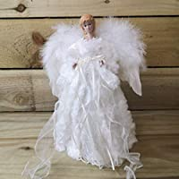 Christmas Tree Fairy Angel Feather Wings White & Cream Faux Fur Coat White Dove