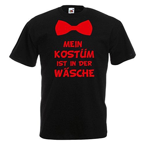 T-Shirt MEIN KOSTÜM IST IN DER WÄSCHE mit Fliege Karneval Fasching Verkleidung Schwarz (Druck Rot) L