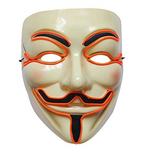 Cuigu Halloween Maske - Vendetta LED-Maske Leuchtendes Cosplay Maskerade Kostüm, Party Zubehör