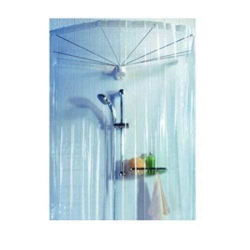 Spirella ombrella clear 1004436 telaio a ombrello per doccia, con tenda doccia, 200x170 cm, colore: trasparente