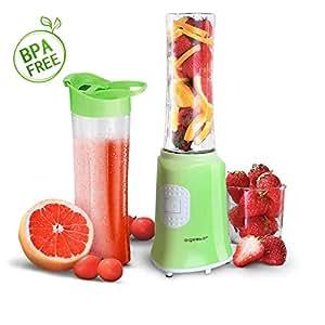Aigostar Summer 30IWW - Mix and Go Personal sport con 2 bottiglie viaggio da 600ml, 350W. Color Verde, BPA FREE