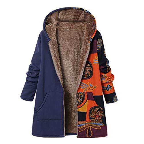 Damen Vintage Coat Jacket ethnischen Boho Blumendruck warm gepolsterte Kapuzen Taschen lose übergroße Oberbekleidung(XL,Navy-1)