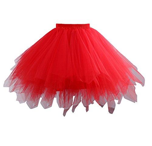 age kurze Petticoat Rock Ballett Bubble Tutu mehrfarbige Pettiskirt Größe L/XL Rot (Tutu Kleid Für Frauen)