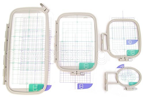 4-Piece Embroidery Hoop Set - Replaces SA442 SA443 SA444 SA445 - Hoops for Brother Machines PE-770 700 700II 750D 780D Innov-is 1000 1200 1250D - Babylock Ellure Ellure Plus Emore - Four Piece Replacement Set by icanhelpsew