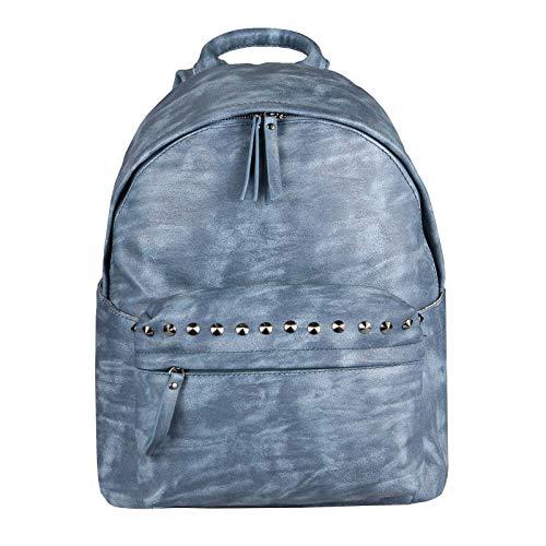 Blaue Nieten-handtasche (OBC Damen Rucksack Tasche Cityrucksack Stadtrucksack Nieten Backpack Schultertasche Handtasche Umhängetasche Shopper Daypack Freizeit Urlaub (Blau 30x35x14 cm))