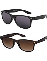 Younky Combo Of Uv Protected Branded Mercury Wayfarer Sunglasses For Men Women Boys & Girls ( Black_Wayfarer-_Brown_Wayfarer ) - 2 Sunglass Case