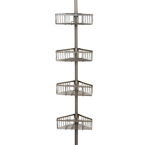 Tension Pole Caddy (Zenna Home 2131NN, Tension Corner Pole Caddy, Satin Nickel by ZPC Zenith Products Corporation)