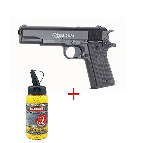 Cybergun Pistola a molla Colt 1911 Anniversary da softair, culatta in metallo, sistema Bax, contenitore con pallini da 0,12 incluso, Forze Speciali/Swat/Cosplay, potenza 0,5 J