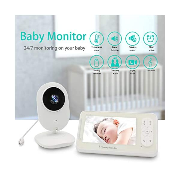 "Video Baby Monitor Camera and Audio Baby Monitor' 4.3"" Two Way Baby Monitor Video with Temperature Sensor Auto Night Vision Baby Monitor Long Distance XinXuan Direct 【Highly Recommended】:Video Baby Monitor Is The Best Choose For You To Take Care The Baby.No Matter You Are In Any Corner Of The Home ,You Can Check The Kid's Situation Through The Baby Monitor At Any Time. 【Night Vision & Temperature Monitoring】:This Digital Video Camera Has 8 Infrared Led Lights, Which Can Be Used During The Day And Night;Video Digital Baby Camera Is Equipped With Temperature Sensors To Monitor The Health Of The Baby At Any Time 【4.3""LCD Display & 2-Way Talk】4.3"" Color High Resolution Display To Watch Baby,The Monitor Can Be Carried Or Hang The Monitor The Waist; When The Child Is Awake Or Playing Noisily ,It Can Communicate With The Baby Quickly . So That The Child Can Hear The Parent's Voice In The Fastest Time, Best Baby Video Monitor 2"
