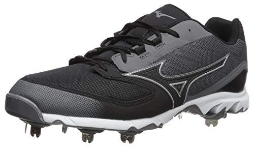 Mizuno Men's 9-Spike Dominant IC Low Metal Baseball Cleat Shoe, Charcoal/Black, 7.5 D US