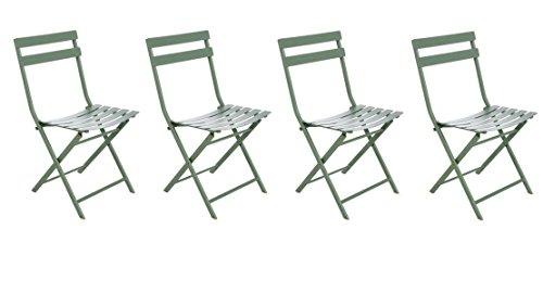 Lot de 4 chaises pliantes coloris kaki - Dim: 52 x 42 x 80 cm - PEGANE -