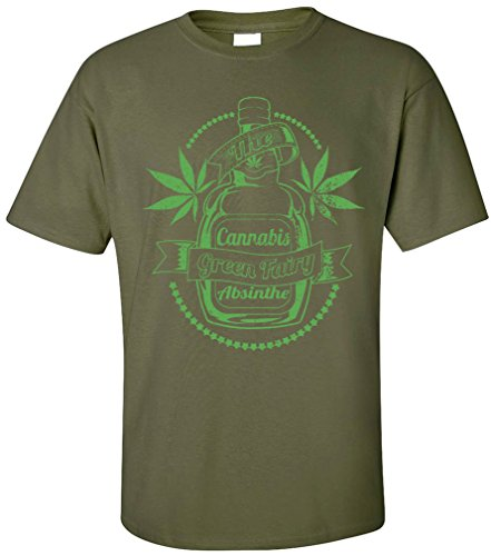 PAPAYANA - DRINK-WEED - Herren T-Shirt - CANNABIS ABSINTHE THE GREEN FAIRY KUSH WEED, XL, oliv (420 Weed T-shirts Bedruckte)