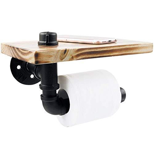 HAO SHOP Vintage Toilettenpapierhalter schwarz industrielle Eisen Pipe mit Holzablage, Wandmontage Bad Organizer Regal, rustikalen Stil, 20x15x15cm -