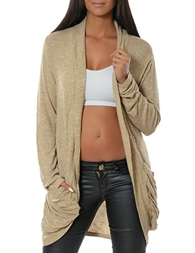 Damen Cardigan Strickjacke Pullover (weitere Farben) 13367, Größe:One Size;Farbe:Beige (Kostüme Online Irland)