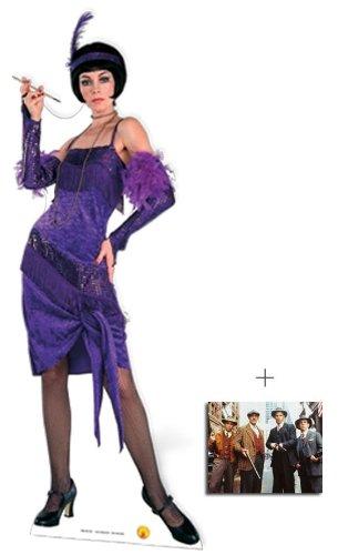 Fabelhaft Flapper trägt lila Kleid Lebensgrosse Pappaufsteller mit 25cm x 20cm foto (Lila Flapper Kleider)