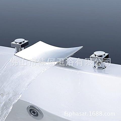 LIVY Cobre para lavabo a tres orificios grifo cascada lavabo tres conjunto grifo
