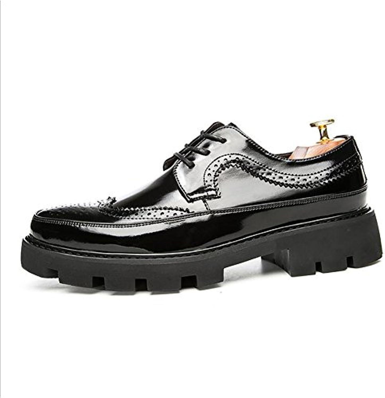 Zapatos de Cuero para Hombres Zapatos de Cuero para Otoño e Invierno Suela pegada Zapatos de Cuero de Tacón Alto...