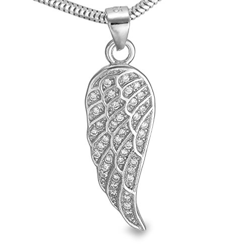 Diamantierte feine Silber Schlangenkette mit Engelsflügel Engel Feder Fluegel echt Sterlingsilber #1317 (55, Silber)