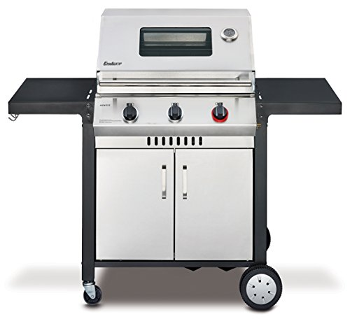 Enders BBQ Gasgrill MONROE 3 S Turbo, Gas Grill 83636, Steak Turbo Zone, Simple Clean, 3 Edelstahl-Brenner, Grillwagen mit Deckel, Thermometer und Grill-Fenster