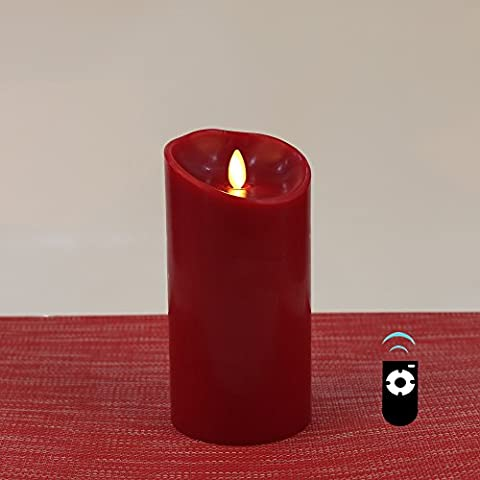 LED Candle with Real-Flame Effect, 9 x 19cm, HueLiv Classic Paraffin Wax Pillar Candles, Cinnamon (Food Grade Cera)