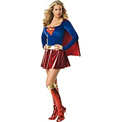 Supergirl para mujer Disfraz De expreso del vestido de lujo, Color azul, Tamaño: Mediano Tamaño 10-12