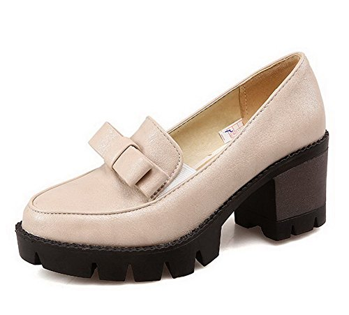 VogueZone009 Femme Tire Pu Cuir Rond à Talon Correct Couleur Unie Chaussures Légeres Beige