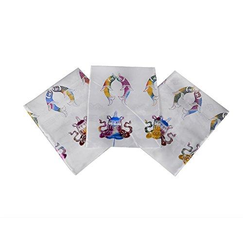 Bermoni Tibetanischer Schal-Khata-Handmade mit bunten Shiny 8 Auspicious Symbol Prints (FH-KHATA1012WHT3)