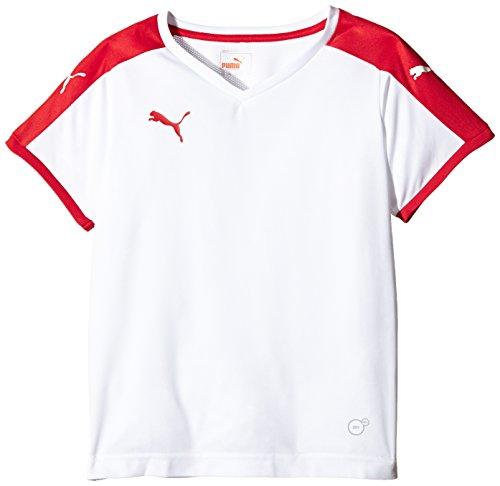 Puma Unisex-Kinder T-Shirt Pitch, White/Puma Red, Gr. 15-16 Jahre (Herstellergröße: 176)