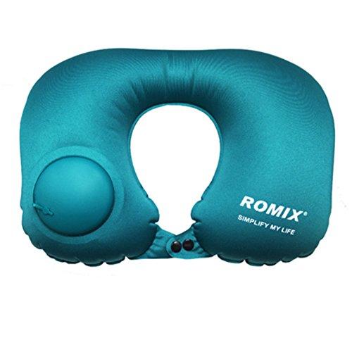 Aufblasbares Nackenkissen U-förmigen Reisekissen für Kinn und Hals mit Tasche, etwa 20-30 Sekunden, um die Inflation zu vervollständigen.(blau) (Manuelle Inflation-pumpe)