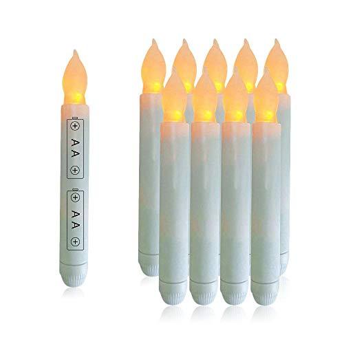flackernde LED-Kerzen für Zuhause, Wachs, getropft, batteriebetrieben, elektrische gelbe Spitzkerzen für Weihnachten, Hochzeiten, Halloween, Erntedankfest, Geburtstag, Kirchen weiß ()