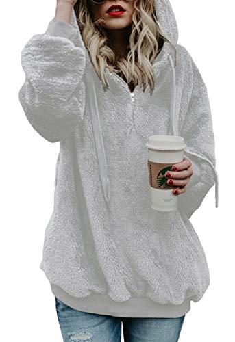 Winter Pullover Sweatshirt (Dokotoo Pullover Damen Oberteile Herbst Wolle Hoodie Winter Sweatshirt Tops Langarmshirt Lang mit Taschen Strickjacke Kapuzenpullover Weiß XXL (EU52-EU54))