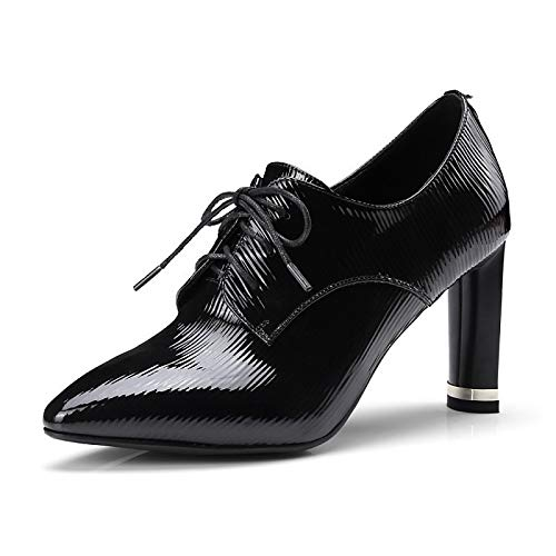 IWxez Damen Komfortschuhe Nappa Leder Spring & Fall Boots Chunky Heel Spitze Zehenstiefeletten/Stiefeletten Schwarz/Burgund, Schwarz, US5.5 / EU36 / UK3.5 / CN35