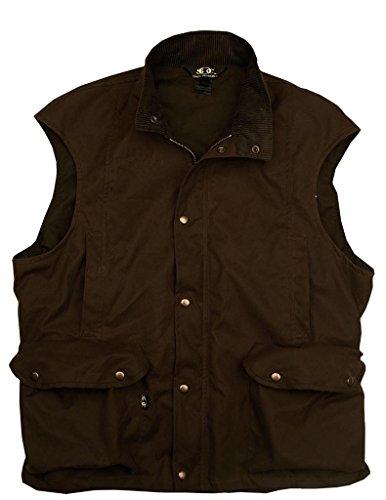 gewachste Arbeits- und Outdoorweste in schwarz und braun aus wasserabweisender und atmungsaktiver Oilskin- Baumwolle (Baumwolle Kakadu Weste)