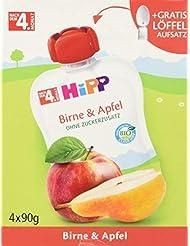 HiPP Früchte im Quetschbeutel, Birne und Apfel, 4er Pack (4 x 90 g)