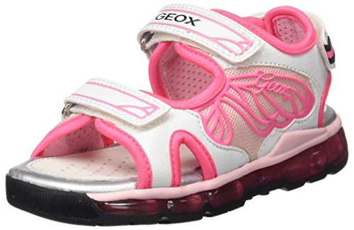 Geox Mädchen J Sandal Android Girl A Offene Sandalen, Pink (White/Fluo PINKC0571), 30 EU