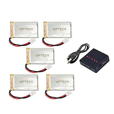 MPTECK @ Replacement Lipo Battery 3.7V 750mAh x5 + 5 in 1 Charger for RC Quadcopter Syma X5 x5C x5C-1 X5SC X5SW Drone